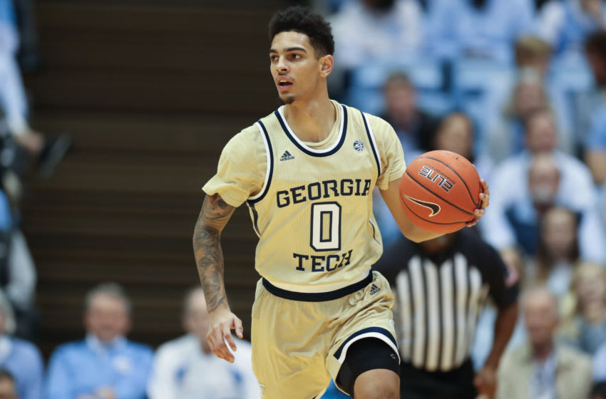 CHAPEL HILL, NC - JANUARY 04: Michael Devoe #0 of Georgia Tech brings the ball up the court during a game between Georgia Tech and North Carolina at Dean E. Smith Center on January 4, 2020 in Chapel Hill, North Carolina. (Photo by Andy Mead/ISI Photos/Getty Images).