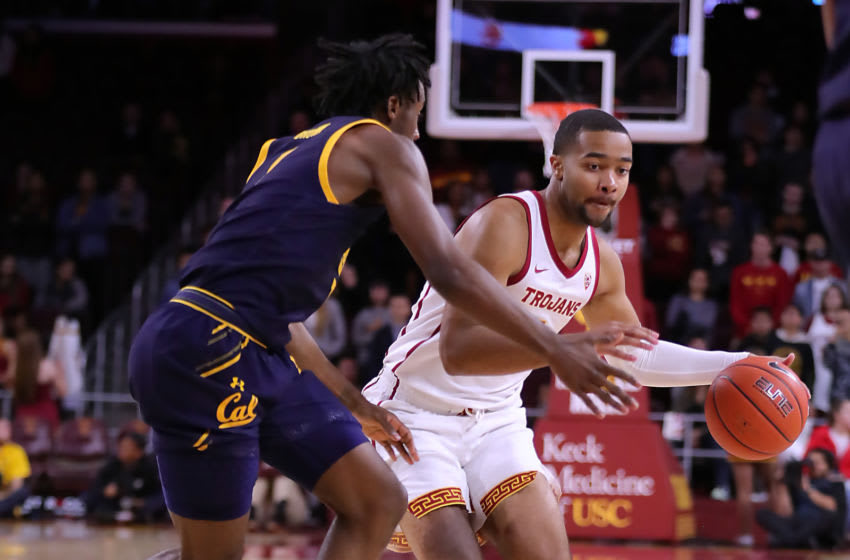 LOS ANGELES, CALIFORNIA - JANUARY 16: Kyle Sturdivant #1 of the USC Trojans handles the ball against Joel Brown #1 of the California Golden Bears during a college basketball game at Galen Center on January 16, 2020 in Los Angeles, California. (Photo by Leon Bennett/Getty Images)