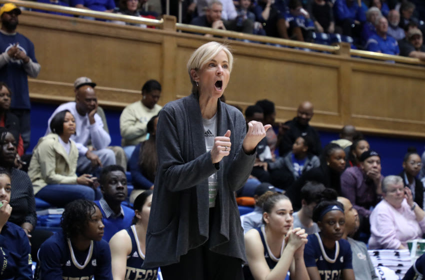 DURHAM, NC - JANUARY 26: Head coach Nell Fortner of Georgia Tech directs her team during a game between Georgia Tech and Duke at Cameron Indoor Stadium on January 26, 2020 in Durham, North Carolina. (Photo by Andy Mead/ISI Photos/Getty Images)