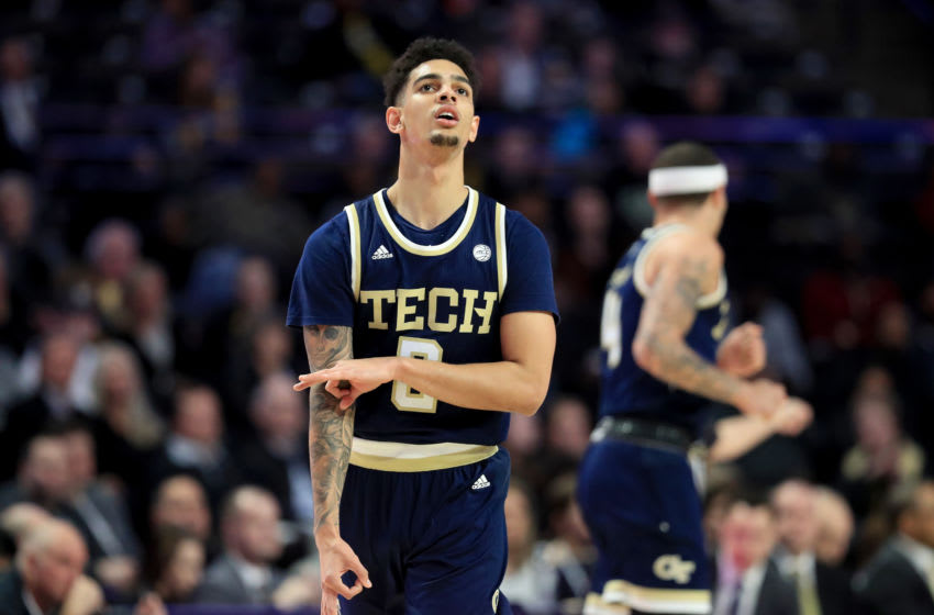 WINSTON-SALEM, NORTH CAROLINA - FEBRUARY 19: Michael Devoe #0 of the Georgia Tech Yellow Jackets reacts after a basket against the Wake Forest Demon Deacons during their game at LJVM Coliseum Complex on February 19, 2020 in Winston-Salem, North Carolina. (Photo by Streeter Lecka/Getty Images)