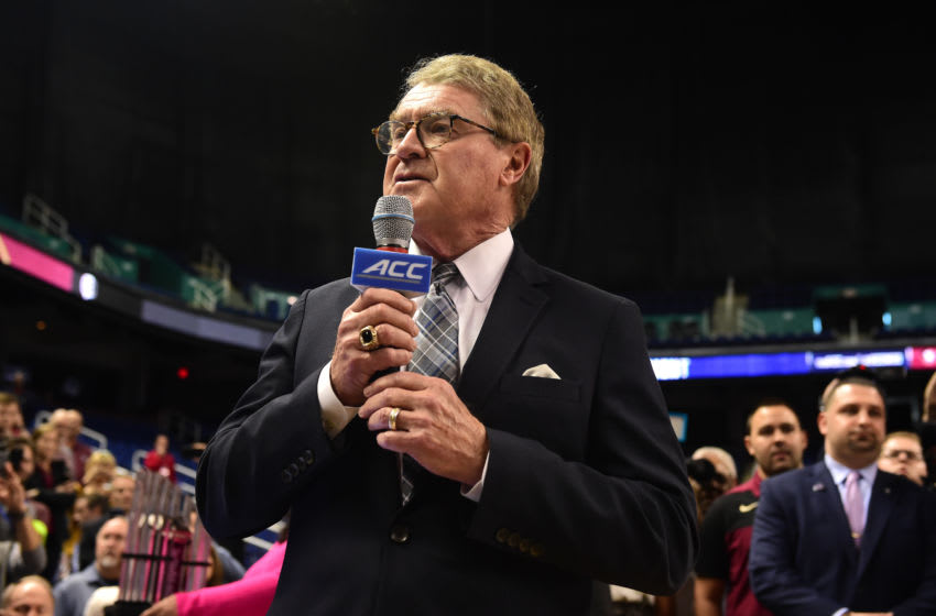 GREENSBORO, NORTH CAROLINA - MARCH 12: ACC Commissioner John Swofford announces the cancelation of the remainder of the 2020 Men's ACC Basketball Tournament at Greensboro Coliseum on March 12, 2020 in Greensboro, North Carolina. The cancelation is due to concerns over the possible spread of the Coronavirus (COVID-19). (Photo by Jared C. Tilton/Getty Images)