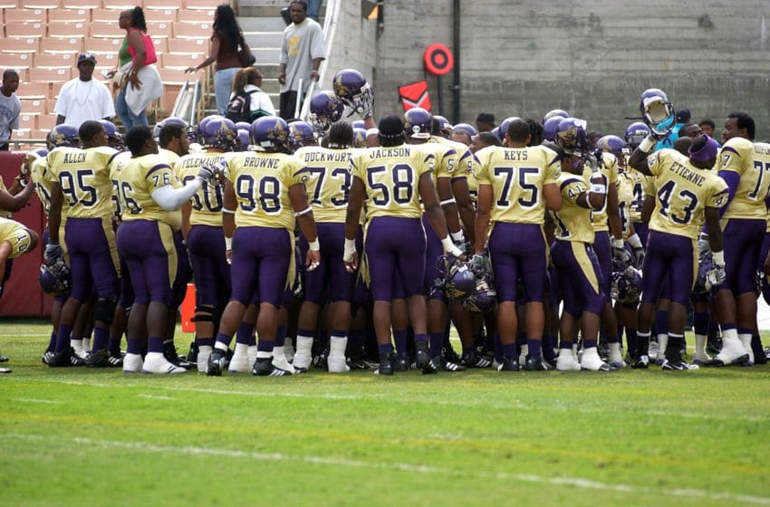 The Alcorn State University Braves huddle up in pregame before a 23 to 6 win over the Morehouse College Maroon Tigers on September 30, 2006 at the Los Angeles Memorial Colesium in Los Angeles, California. (Photo by Reuben Canales/Getty Images)