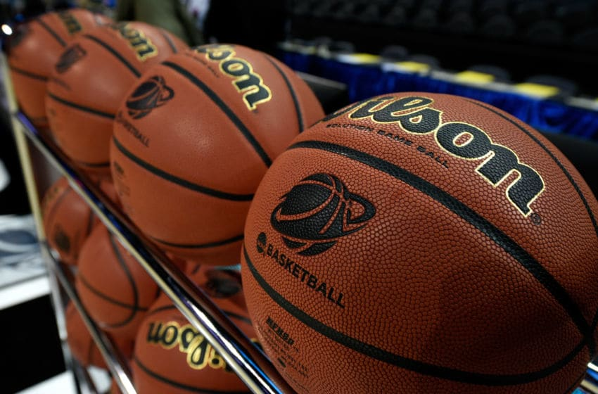 CHARLOTTE, NC - MARCH 20: A general view of basketballs before the game between the Georgia Bulldogs and Michigan State Spartans during the second round of the 2015 NCAA Men's Basketball Tournament at Time Warner Cable Arena on March 20, 2015 in Charlotte, North Carolina. (Photo by Grant Halverson/Getty Images)