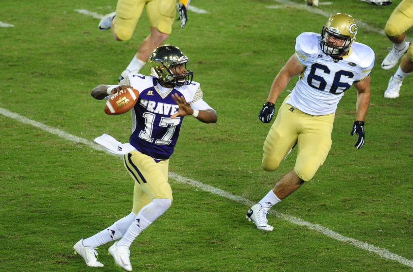 ATLANTA, GA - SEPTEMBER 3: Lenorris Footman #17 of the Alcorn State Braves rolls out to pass against Georgia Tech Yellow Jackets on September 3, 2015 in Atlanta, Georgia. Photo by Scott Cunningham/Getty Images)
