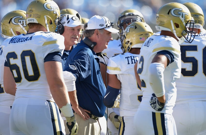 CHAPEL HILL, NC - NOVEMBER 05: Head coach Paul Johnson of the Georgia Tech Yellow Jackets huddles with his team during the game against the North Carolina Tar Heels at Kenan Stadium on November 5, 2016 in Chapel Hill, North Carolina. (Photo by Grant Halverson/Getty Images)