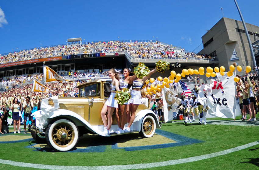 ATLANTA, GA - SEPTEMBER 9: The Ramblin' Wreck from Georgia Tech Yellow Jackets leads the team on to the field before the game against Jacksonville State Gamecocks on September 9, 2017 in Atlanta, Georgia. Photo by Scott Cunningham/Getty Images)