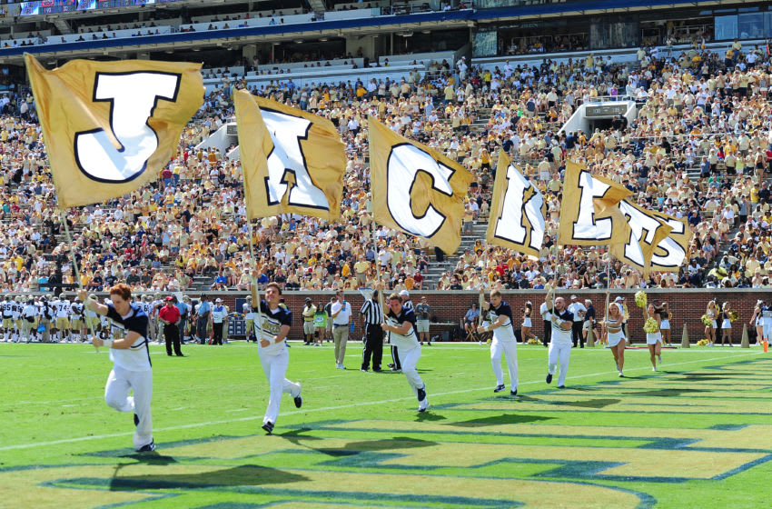ATLANTA, GA - SEPTEMBER 9: Members of the Georgia Tech Yellow Jackets Cheerleaders perform during the game against Jacksonville State Gamecocks on September 9, 2017 in Atlanta, Georgia. Photo by Scott Cunningham/Getty Images)