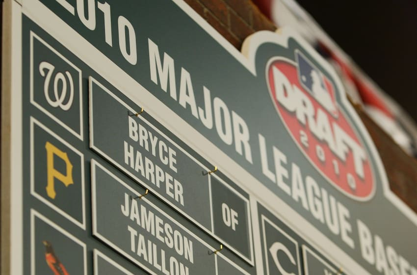 SECAUCUS, NJ - JUNE 07: A detailed view of the first overall pick of the Washington Nationals Bryce Harper on the draft board during the MLB First Year Player Draft on June 7, 2010 held in Studio 42 at the MLB Network in Secaucus, New Jersey. (Photo by Mike Stobe/Getty Images)