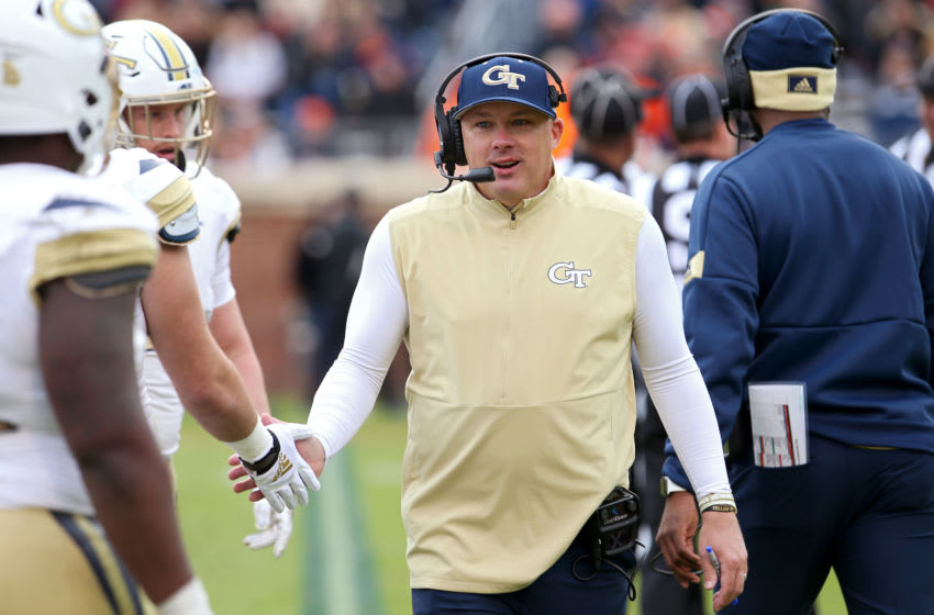 Head coach Geoff Collins of the Georgia Tech Yellow Jackets in the second half during a game against the Virginia Cavaliers at Scott Stadium on November 9, 2019 in Charlottesville, Virginia. (Photo by Ryan M. Kelly/Getty Images)