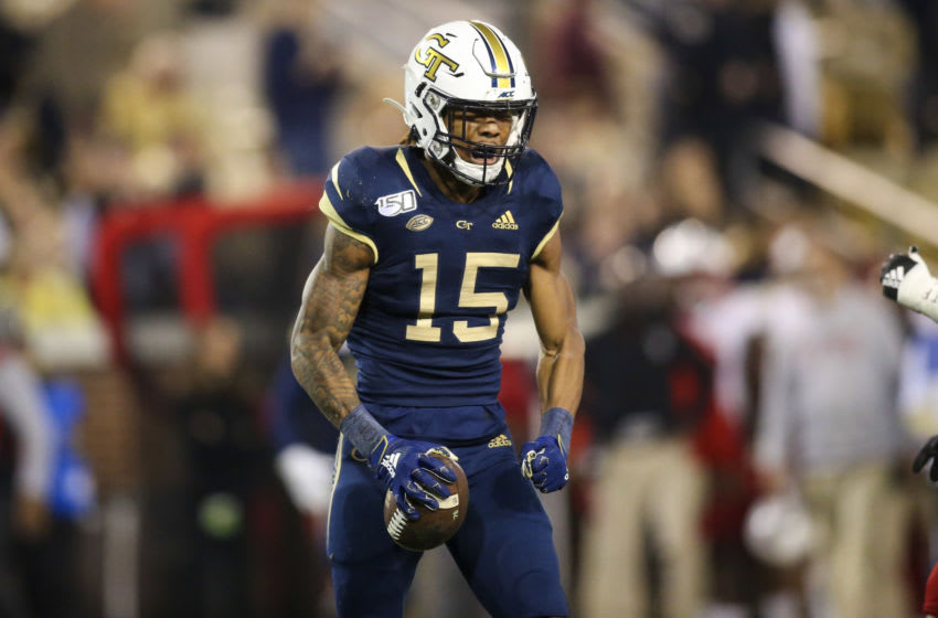 Nov 21, 2019; Atlanta, GA, USA; Georgia Tech Yellow Jackets wide receiver Malachi Carter (15) reacts after a catch against the North Carolina State Wolfpack in the first half at Bobby Dodd Stadium. Mandatory Credit: Brett Davis-USA TODAY Sports