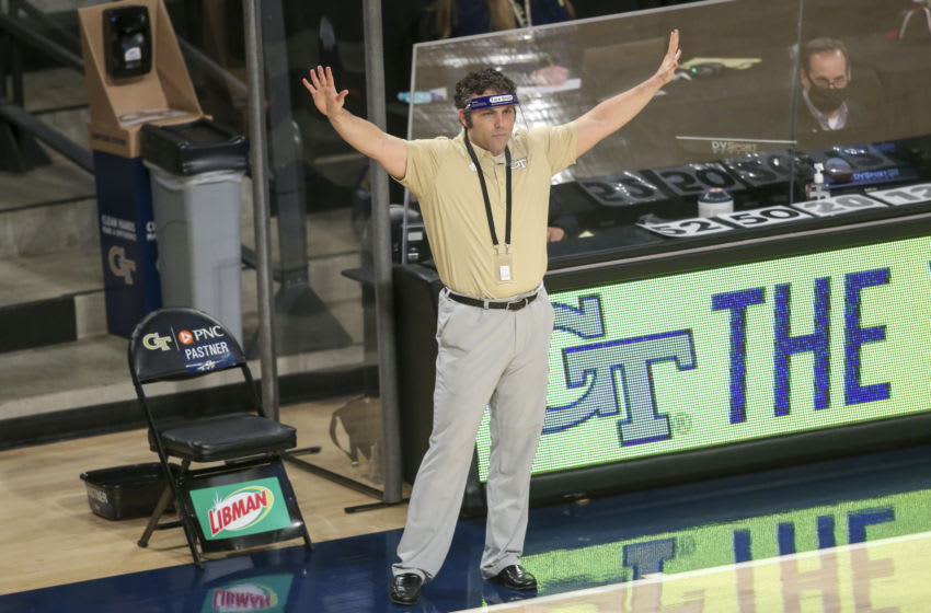 Feb 14, 2021; Atlanta, Georgia, USA; Georgia Tech Yellow Jackets head coach Josh Pastner on the sideline against the Pittsburgh Panthers in the first half at McCamish Pavilion. Mandatory Credit: Brett Davis-USA TODAY Sports