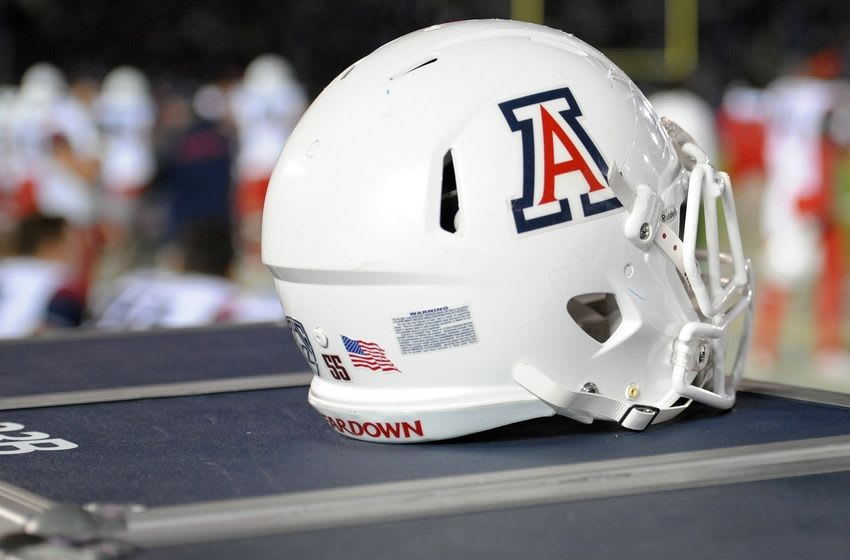 Nov 1, 2014; Pasadena, CA, USA; A detailed view of the Arizona Wildcats helmet during the fourth quarter against the UCLA Bruins at Rose Bowl. Mandatory Credit: Jake Roth-USA TODAY Sports