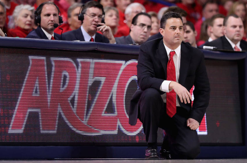 TUCSON, AZ - JANUARY 12: Head coach Sean Miller of the Arizona Wildcats watches from the sidelines during the first half of the college basketball game against the Arizona State Sun Devils at McKale Center on January 12, 2017 in Tucson, Arizona. (Photo by Christian Petersen/Getty Images)