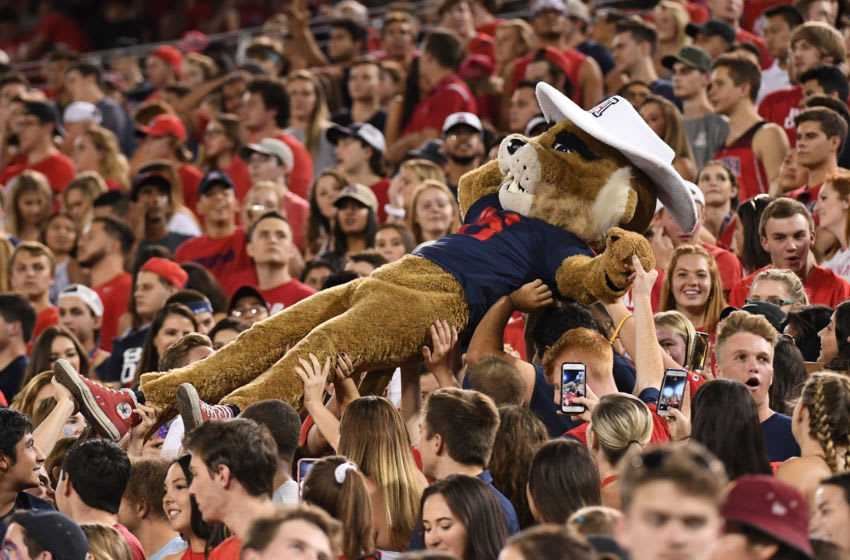 TUCSON, AZ - SEPTEMBER 29: Arizona Wildcats mascot Wilbur the Wildcat crowd surfs during the game between USC Trojans and Arizona Wildcats at Arizona Stadium on September 29, 2018 in Tucson, Arizona. (Photo by Jennifer Stewart/Getty Images)