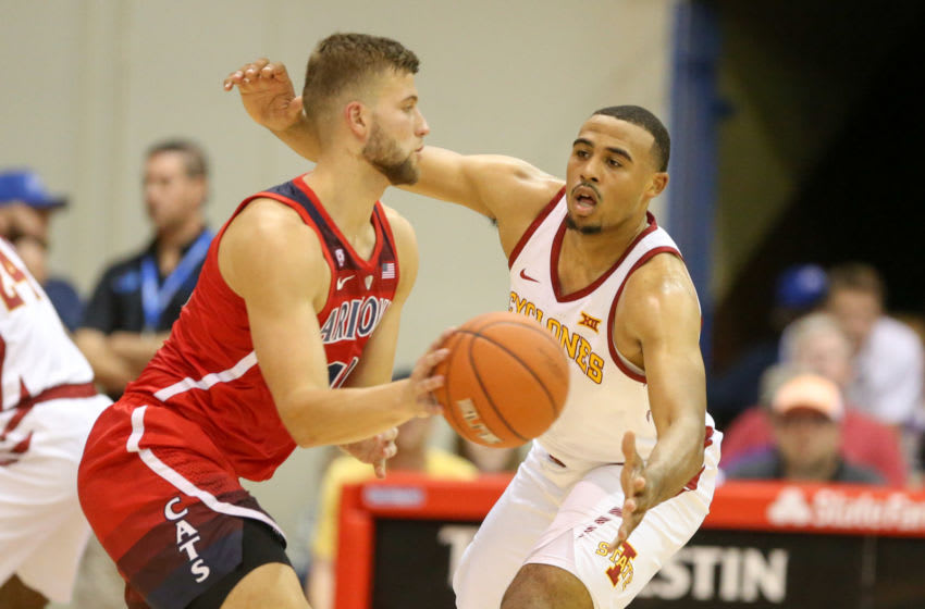 LAHAINA, HI - NOVEMBER 19: Talen Horton-Tucker #11 of the Iowa State Cyclones guards Ryan Luther #10 of the Arizona Wildcats during the first half of the game at Lahaina Civic Center on November 19, 2018 in Lahaina, Hawaii. (Photo by Darryl Oumi/Getty Images)