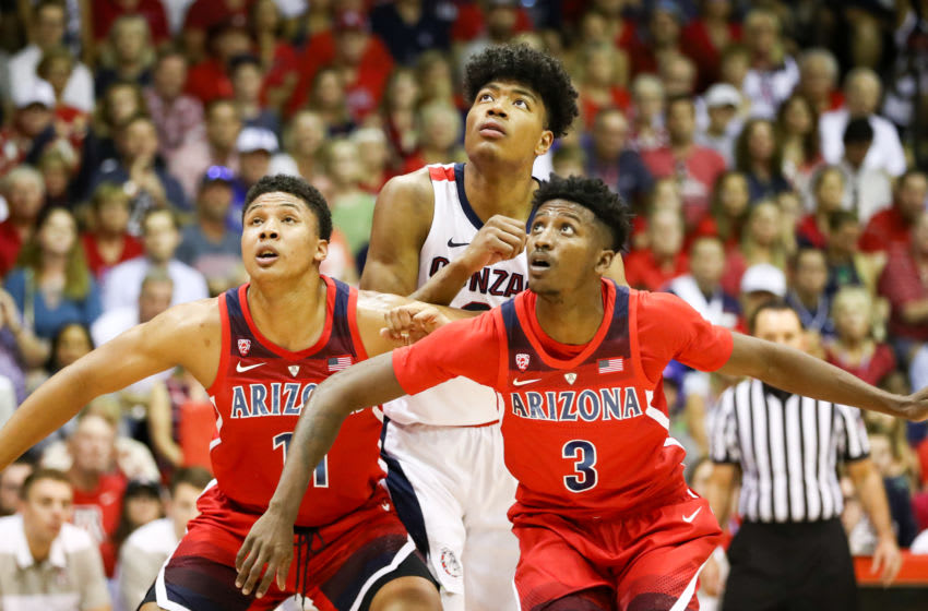 LAHAINA, HI - NOVEMBER 20: Ira Lee and Dylan Smith #3 of the Arizona Wildcats block out Rui Hachimura #21 of the Gonzaga Bulldogs during a free throw attempt during the first half of the game at the Lahaina Civic Center on November 20, 2018 in Lahaina, Hawaii. (Photo by Darryl Oumi/Getty Images)