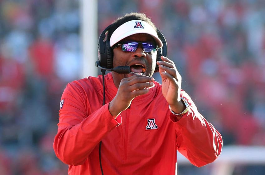 TUCSON, AZ - NOVEMBER 24: Head coach Kevin Sumlin of the Arizona Wildcats tries to call time out during second half action of a college football game against the Arizona State Sun Devils at Arizona Stadium on November 24, 2018 in Tucson, Arizona. (Photo by Ralph Freso/Getty Images)
