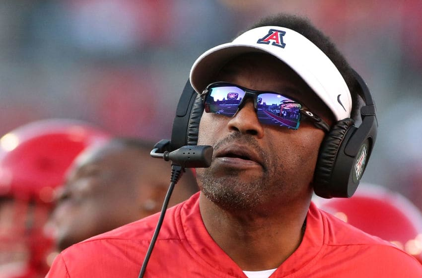 TUCSON, AZ - NOVEMBER 24: Head coach Kevin Sumlin of the Arizona Wildcats watches from the sideline during second half action of a college football game against the Arizona State Sun Devils at Arizona Stadium on November 24, 2018 in Tucson, Arizona. (Photo by Ralph Freso/Getty Images)