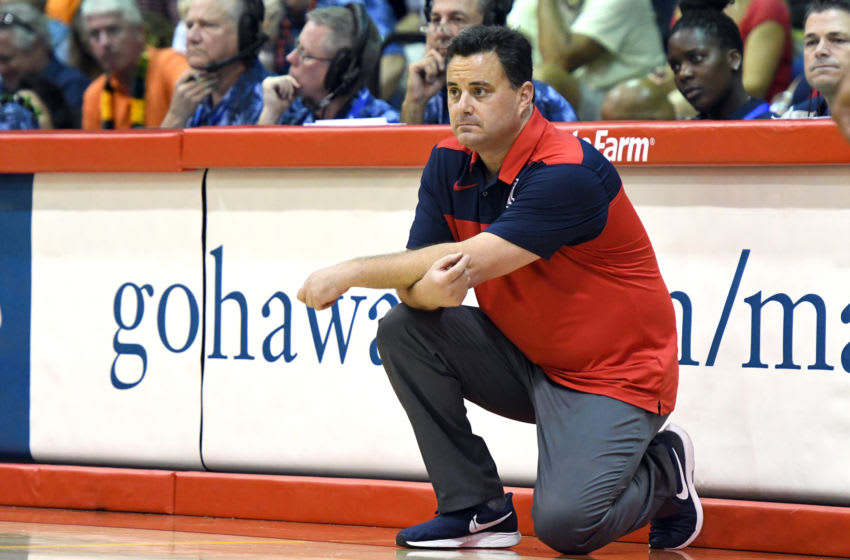 LAHAINA, HI - NOVEMBER 21: Head coach Sean Miller of the Arizona Wildcats looks on during a consolation game of the Maui Invitational college basketball game against the Auburn Tigers at the Lahaina Civic Center on November 21, 2018 in Lahaina Hawaii. (Photo by Mitchell Layton/Getty Images)