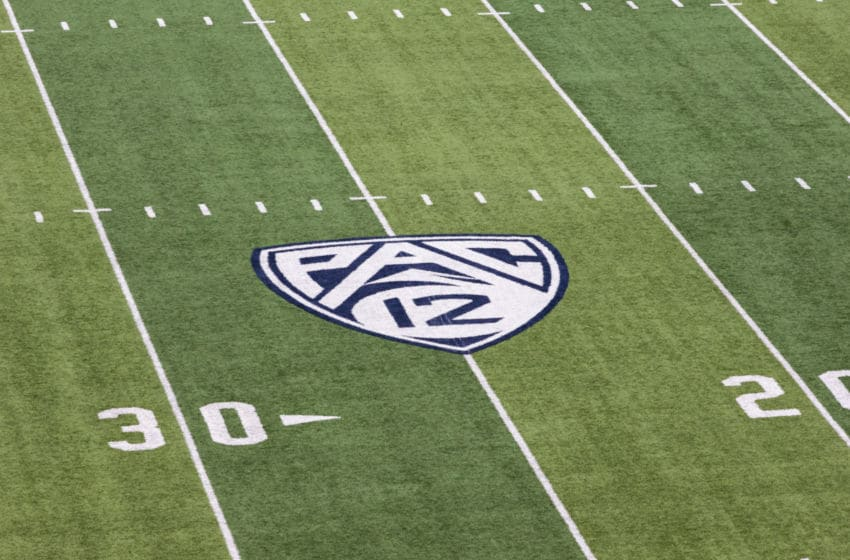 BERKELEY, CA - DECEMBER 1: A general view of the field and the Pac-12 logo in Memorial Stadium on the day of the 121st Big Game played between the California Golden Bears and the Stanford Cardinal football teams on December 1, 2018 at the University of California in Berkeley, California. (Photo by David Madison/Getty Images)