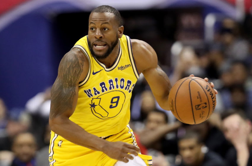 WASHINGTON, DC - JANUARY 24: Andre Iguodala #9 of the Golden State Warriors dribbles the ball against the Washington Wizards at Capital One Arena on January 24, 2019 in Washington, DC. NOTE TO USER: User expressly acknowledges and agrees that, by downloading and or using this photograph, User is consenting to the terms and conditions of the Getty Images License Agreement. (Photo by Rob Carr/Getty Images)