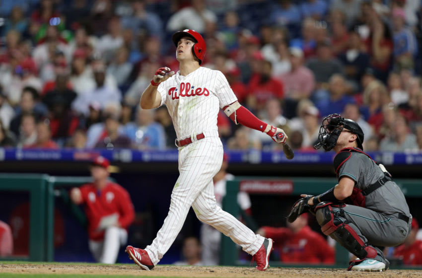 PHILADELPHIA, PA - JUNE 11: Scott Kingery #4 of the Philadelphia Phillies pops out in the fifth inning during a game against the Arizona Diamondbacks at Citizens Bank Park on June 11, 2019 in Philadelphia, Pennsylvania. The Phillies defeated the Diamondbacks 7-4. (Photo by Hunter Martin/Getty Images)