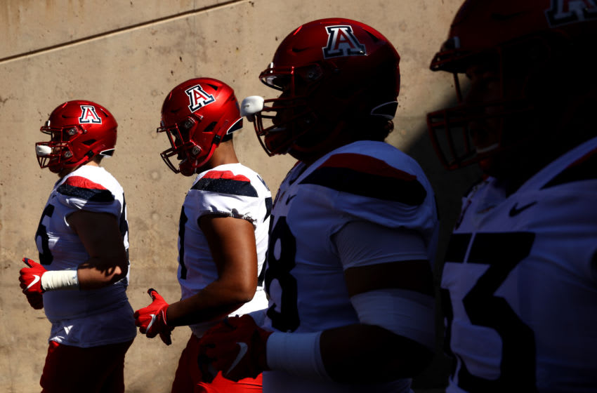 PALO ALTO, CALIFORNIA - OCTOBER 26: Players for the Arizona Wildcats walk out of the tunnel for their game against the Stanford Cardinal at Stanford Stadium on October 26, 2019 in Palo Alto, California. (Photo by Ezra Shaw/Getty Images)