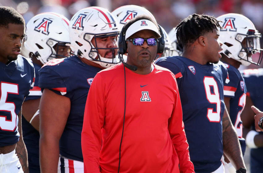 TUCSON, ARIZONA - NOVEMBER 02: Head coach Kevin Sumlin of the Arizona Wildcats watches from the sidelines during the first half of the NCAAF game against the Oregon State Beavers at Arizona Stadium on November 02, 2019 in Tucson, Arizona. (Photo by Christian Petersen/Getty Images)