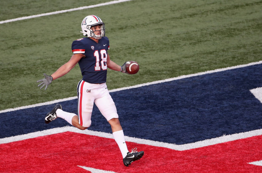 TUCSON, ARIZONA - NOVEMBER 02: Wide receiver Cedric Peterson #18 of the Arizona Wildcats scores on a 35 yard touchdown reception against the Oregon State Beavers during the second half of the NCAAF game at Arizona Stadium on November 02, 2019 in Tucson, Arizona. (Photo by Christian Petersen/Getty Images)