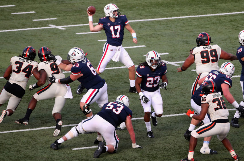 TUCSON, ARIZONA - NOVEMBER 02: Quarterback Grant Gunnell #17 of the Arizona Wildcats throws a pass during the second half of the NCAAF game against the Oregon State Beavers at Arizona Stadium on November 02, 2019 in Tucson, Arizona. (Photo by Christian Petersen/Getty Images)