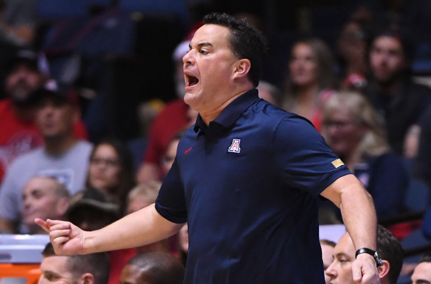ANAHEIM, CA - DECEMBER 01: Head coach Sean Miller of the Arizona Wildcats yells from the bench in the second half of the game against the Wake Forest Demon Deacons during the Wooden Legacy at the Anaheim Convention Center at on December 1, 2019 in Anaheim, California. (Photo by Jayne Kamin-Oncea/Getty Images)