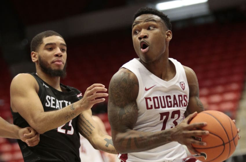 PULLMAN, WASHINGTON - NOVEMBER 07: Jaylen Shead #23 of the Washington State Cougars drives against Terrell Brown #23 of the Seattle Redhawks in the second half at Beasley Coliseum on November 07, 2019 in Pullman, Washington. Washington State defeats Seattle 85-54. (Photo by William Mancebo/Getty Images)