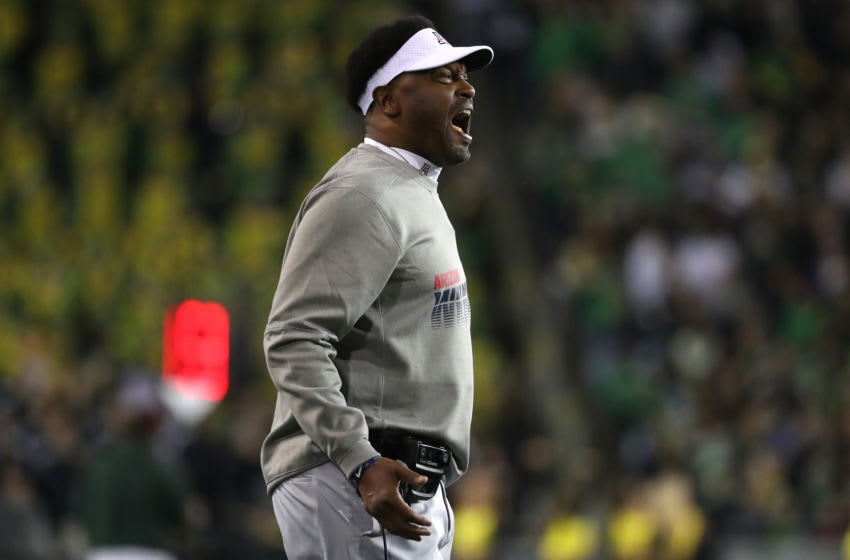 EUGENE, OREGON - NOVEMBER 16: Head Coach Kevin Sumlin of the Arizona Wildcats reacts against the Oregon Ducks in the first quarter during their game at Autzen Stadium on November 16, 2019 in Eugene, Oregon. (Photo by Abbie Parr/Getty Images)