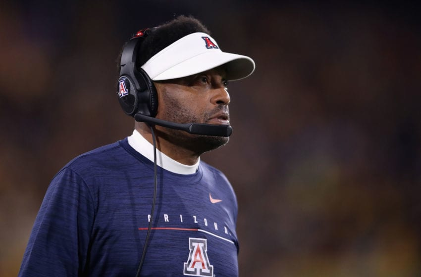 TEMPE, ARIZONA - NOVEMBER 30: Head coach Kevin Sumlin of the Arizona Wildcats watches from the sidelines during the first half of the NCAAF game against the Arizona State Sun Devils at Sun Devil Stadium on November 30, 2019 in Tempe, Arizona. (Photo by Christian Petersen/Getty Images)