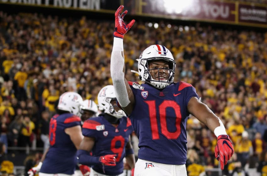 TEMPE, ARIZONA - NOVEMBER 30: Wide receiver Jamarye Joiner #10 of the Arizona Wildcats celebrates after scoring on a 48 yard touchdown reception against the Arizona State Sun Devils during the first half of the NCAAF game at Sun Devil Stadium on November 30, 2019 in Tempe, Arizona. (Photo by Christian Petersen/Getty Images)