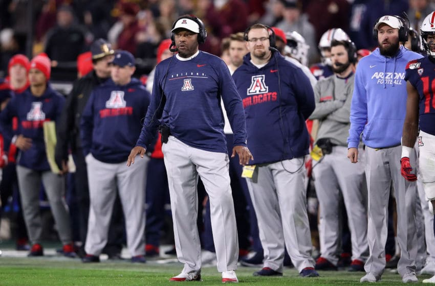 TEMPE, ARIZONA - NOVEMBER 30: Head coach Kevin Sumlin of the Arizona Wildcats watches from the sidelines during the second half of the NCAAF game against the Arizona State Sun Devils at Sun Devil Stadium on November 30, 2019 in Tempe, Arizona. (Photo by Christian Petersen/Getty Images)