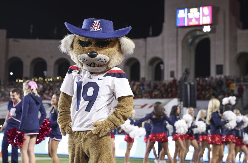 LOS ANGELES, CALIFORNIA - OCTOBER 19: The Arizona Wildcats mascot Wilbur Wildcat during the game against the USC Trojans at Los Angeles Memorial Coliseum on October 19, 2019 in Los Angeles, California. (Photo by Meg Oliphant/Getty Images)