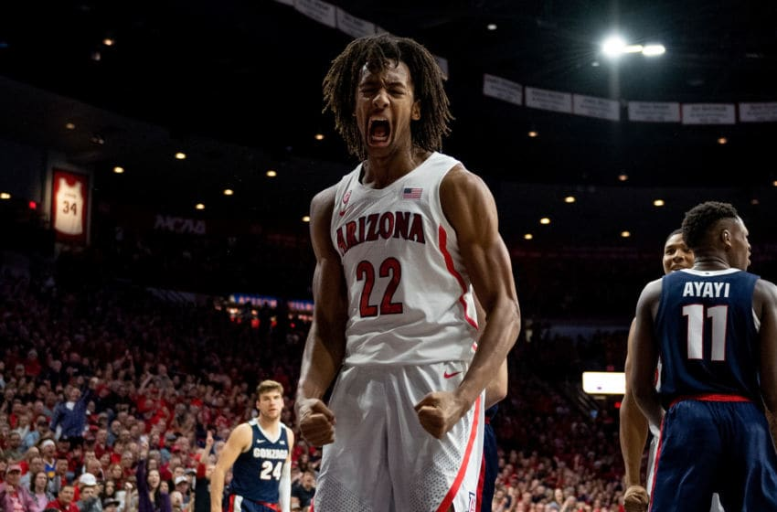 TUCSON, ARIZONA - DECEMBER 14: Zeke Nnaji #22 of the Arizona Wildcats reacts in the first half against the Gonzaga Bulldogs at McKale Center on December 14, 2019 in Tucson, Arizona. The Gonzaga Bulldogs won 84 - 80. (Photo by Jennifer Stewart/Getty Images)