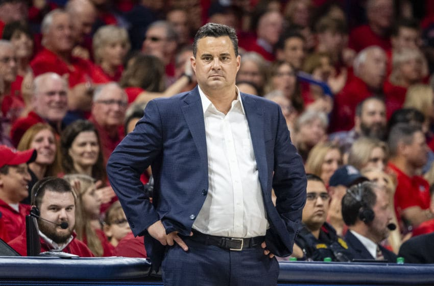 TUCSON, ARIZONA - JANUARY 04: Head coach Sean Miller of the Arizona Wildcats looks on during the game against the Arizona Wildcats at McKale Center on January 04, 2020 in Tucson, Arizona. The Arizona Wildcats won 75-47. (Photo by Jennifer Stewart/Getty Images)