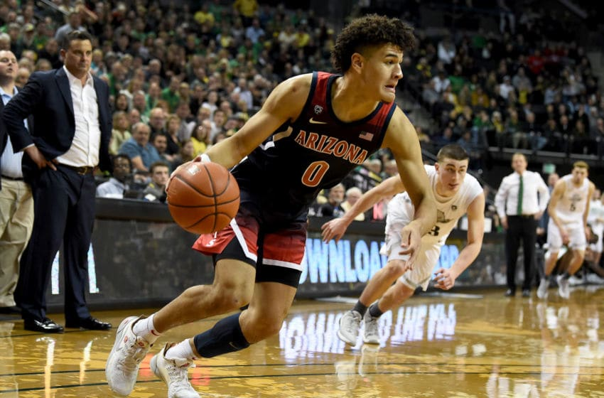 EUGENE, OREGON - JANUARY 09: Josh Green #0 of the Arizona Wildcats drives to the basket during the second half against the Oregon Ducks at Matthew Knight Arena on January 09, 2020 in Eugene, Oregon. Oregon won 74-73. (Photo by Steve Dykes/Getty Images)