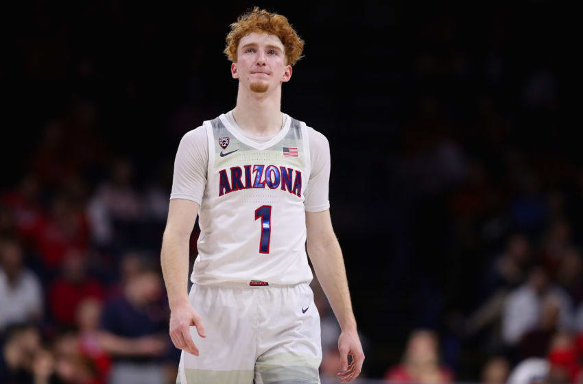 TUCSON, ARIZONA - JANUARY 16: Nico Mannion #1 of the Arizona Wildcats reacts as he walks down court during the second half of the NCAAB game against the Utah Utes at McKale Center on January 16, 2020 in Tucson, Arizona. (Photo by Christian Petersen/Getty Images)