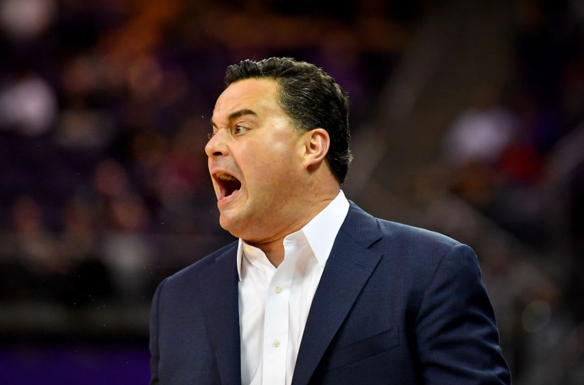 SEATTLE, WASHINGTON - JANUARY 30: Head coach Sean Miller of the Arizona Wildcats encourages his team during the first half of the game against the Washington Huskies at Hec Edmundson Pavilion on January 30, 2020 in Seattle, Washington. (Photo by Alika Jenner/Getty Images)