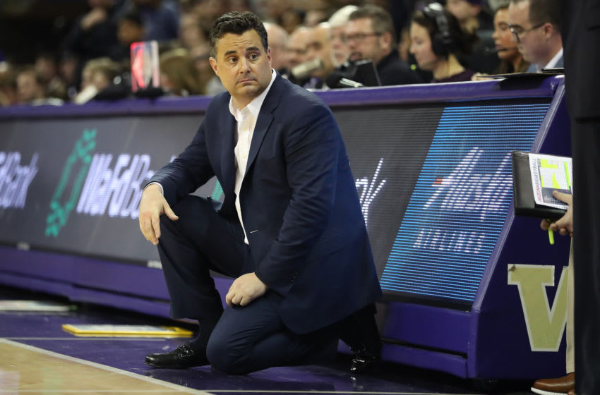 SEATTLE, WASHINGTON - JANUARY 30: Head Coach Sean Miller of the Arizona Wildcats reacts in the second half against the Washington Huskies during their game at Hec Edmundson Pavilion on January 30, 2020 in Seattle, Washington. (Photo by Abbie Parr/Getty Images)