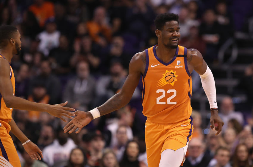 PHOENIX, ARIZONA - FEBRUARY 07: Deandre Ayton #22 of the Phoenix Suns during the first half of the NBA game against the Houston Rockets at Talking Stick Resort Arena on February 07, 2020 in Phoenix, Arizona. NOTE TO USER: User expressly acknowledges and agrees that, by downloading and or using this photograph, user is consenting to the terms and conditions of the Getty Images License Agreement. Mandatory Copyright Notice: Copyright 2020 NBAE. (Photo by Christian Petersen/Getty Images)