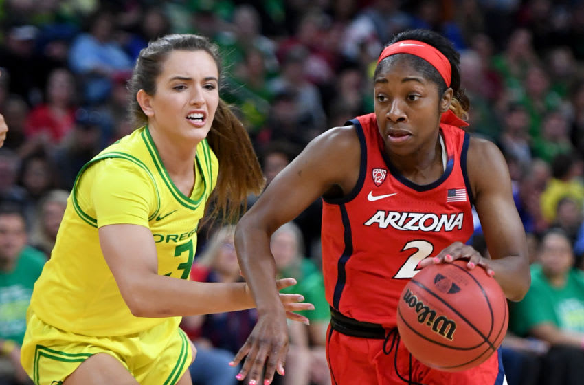 LAS VEGAS, NEVADA - MARCH 07: Aarion McDonald #2 of the Arizona Wildcats drives against Taylor Chavez #3 of the Oregon Ducks during the Pac-12 Conference women's basketball tournament semifinals at the Mandalay Bay Events Center on March 7, 2020 in Las Vegas, Nevada. The Ducks defeated the Wildcats 88-70. (Photo by Ethan Miller/Getty Images)