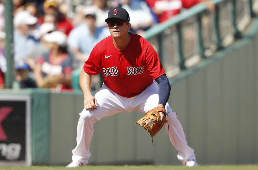 FORT MYERS, FLORIDA - FEBRUARY 27: Bobby Dalbec #29 of the Boston Red Sox in action against the Philadelphia Phillies during a Grapefruit League spring training game at JetBlue Park at Fenway South on February 27, 2020 in Fort Myers, Florida. (Photo by Michael Reaves/Getty Images)