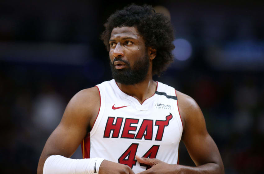 NEW ORLEANS, LOUISIANA - MARCH 06: Solomon Hill #44 of the Miami Heat reacts against the New Orleans Pelicans during a game at the Smoothie King Center on March 06, 2020 in New Orleans, Louisiana. NOTE TO USER: User expressly acknowledges and agrees that, by downloading and or using this Photograph, user is consenting to the terms and conditions of the Getty Images License Agreement. (Photo by Jonathan Bachman/Getty Images)