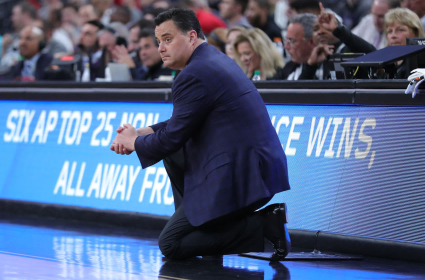 LAS VEGAS, NEVADA - MARCH 11: Sean Miller head coach of the Arizona Wildcats looks on against the Washington Huskies during the first round of the Pac-12 Conference basketball tournament at T-Mobile Arena on March 11, 2020 in Las Vegas, Nevada. (Photo by Leon Bennett/Getty Images)