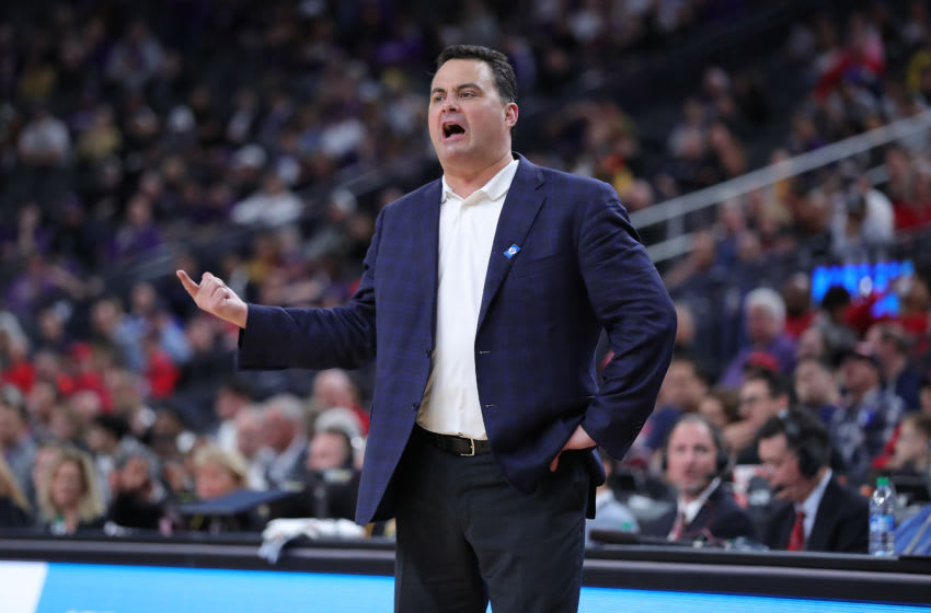 LAS VEGAS, NEVADA - MARCH 11: Sean Miller head coach of the Arizona Wildcats directing his team against the Washington Huskies during the first round of the Pac-12 Conference basketball tournament at T-Mobile Arena on March 11, 2020 in Las Vegas, Nevada. (Photo by Leon Bennett/Getty Images)