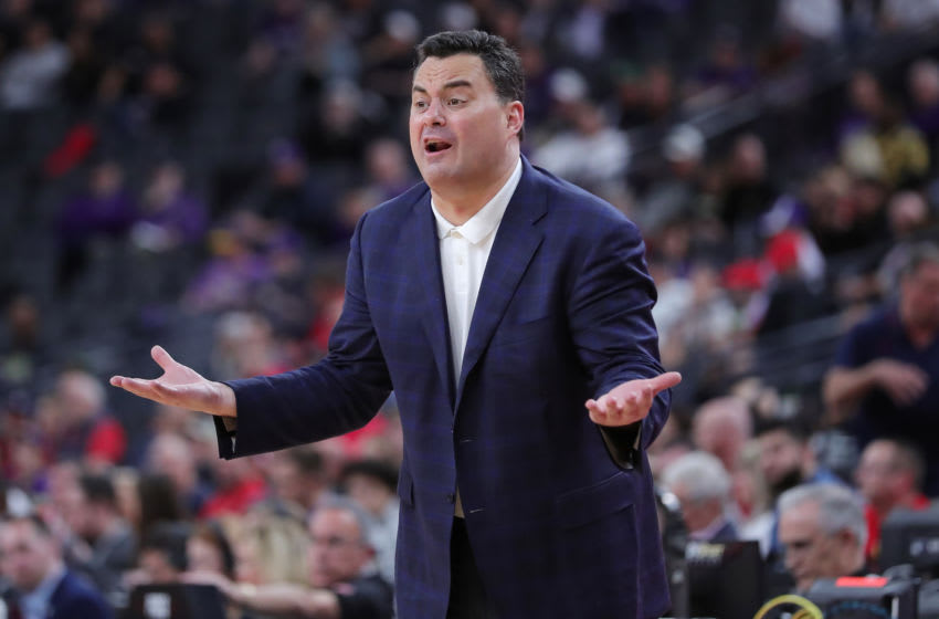 LAS VEGAS, NEVADA - MARCH 11: Sean Miller head coach directing his team against the Washington Huskies during the first round of the Pac-12 Conference basketball tournament at T-Mobile Arena on March 11, 2020 in Las Vegas, Nevada. (Photo by Leon Bennett/Getty Images)